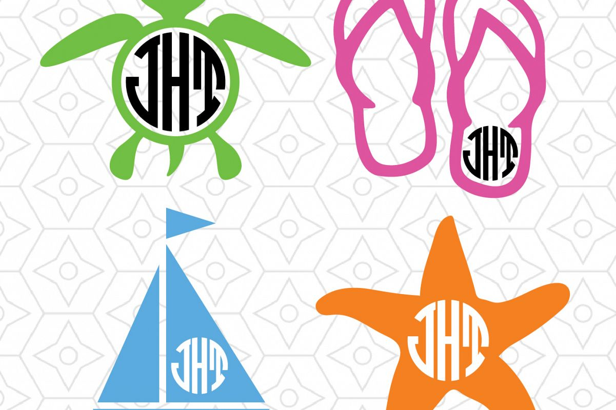 1201x800 Beach Monogram Frame Decal Collection, Design Bundles