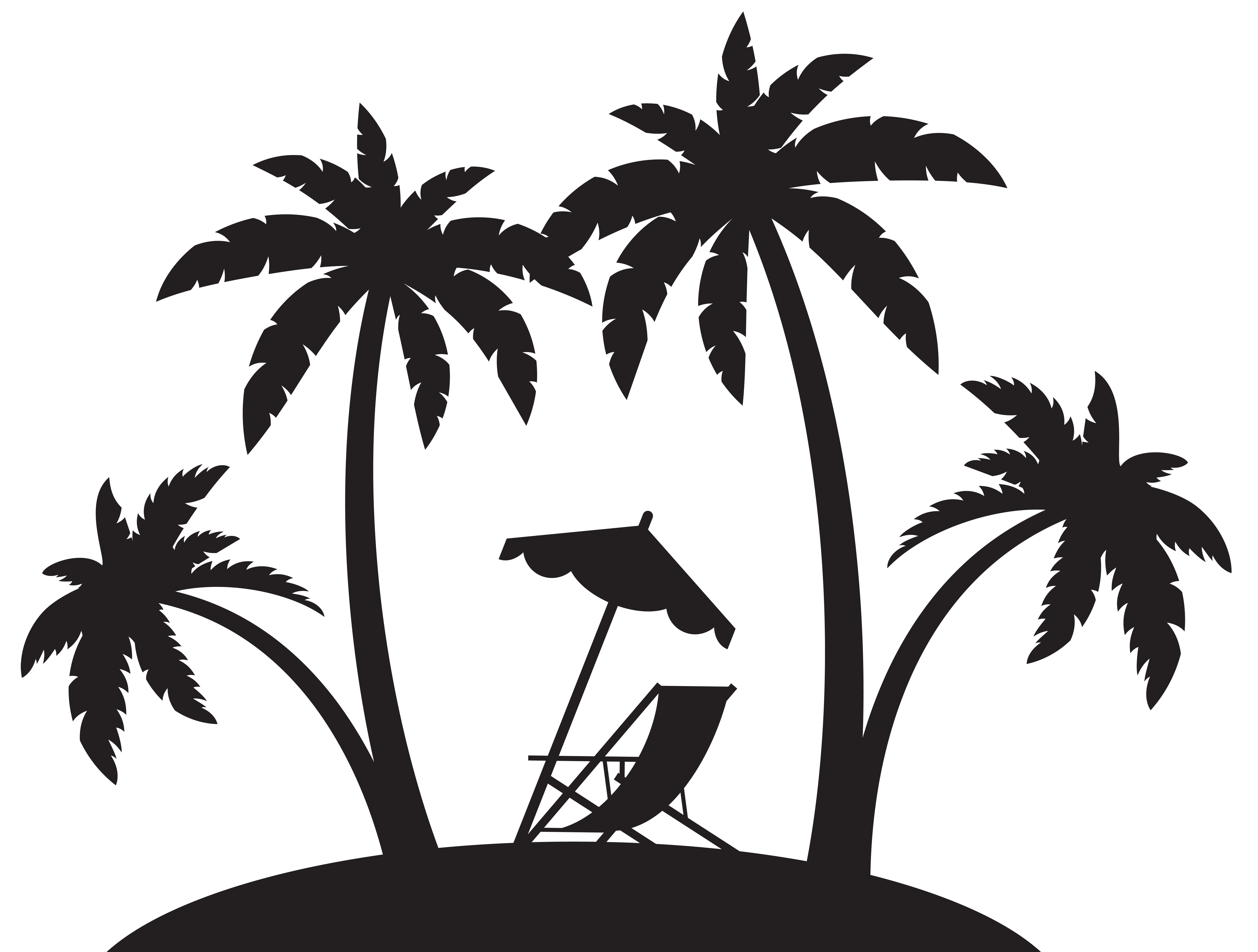 8000x6056 Palms And Beach Chair Silhouette Png Clip Artu200b Gallery