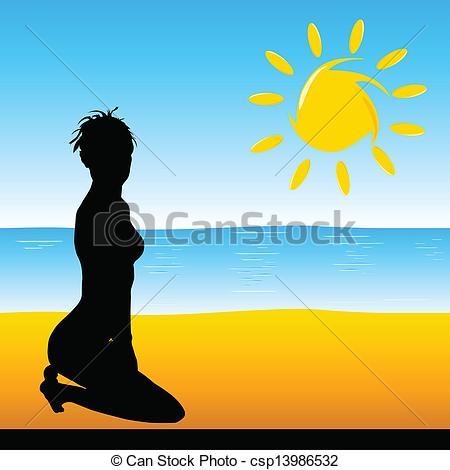 450x470 Beauty Girl On The Beach Vector Illustration Vectors
