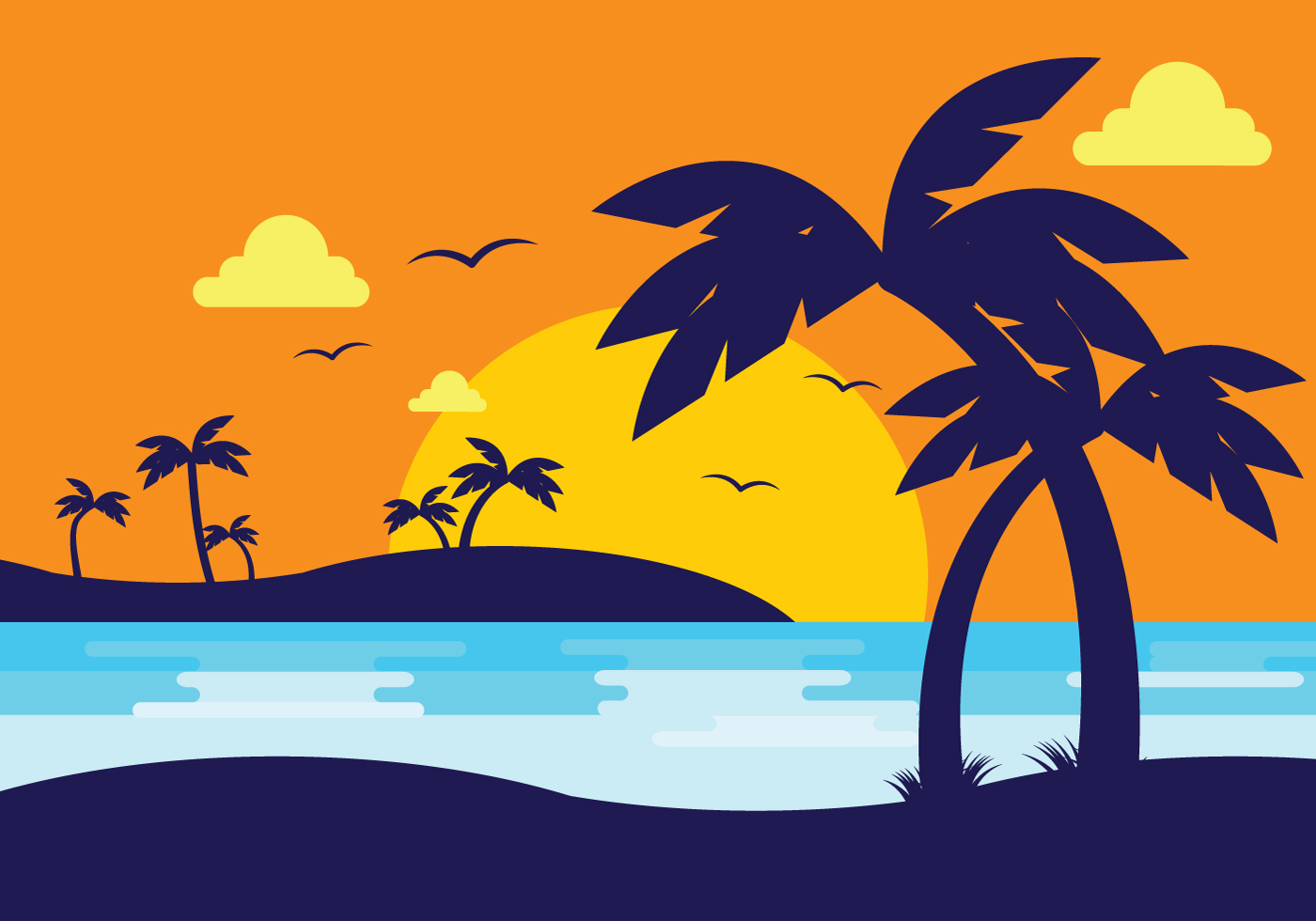 1400x980 Sunset Beach With Palm Silhouette