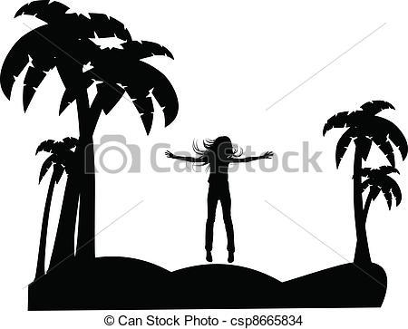 450x363 The Vector Silhouette Girl On Tropical Beach Eps 8 Eps Vector