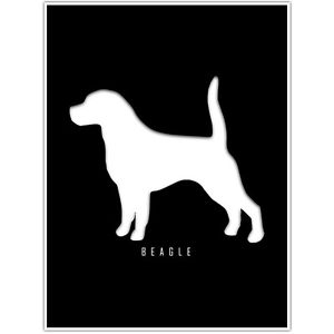 300x300 Beagle Silhouette Wall Art Decor Poster
