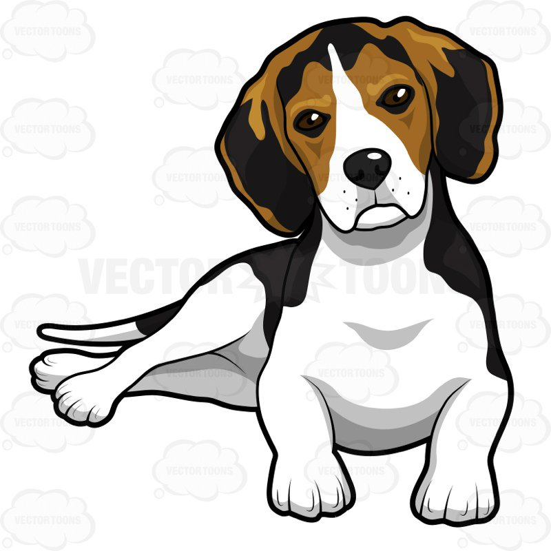 800x800 Cute Beagle Puppy Lying Down Cartoon Clipart