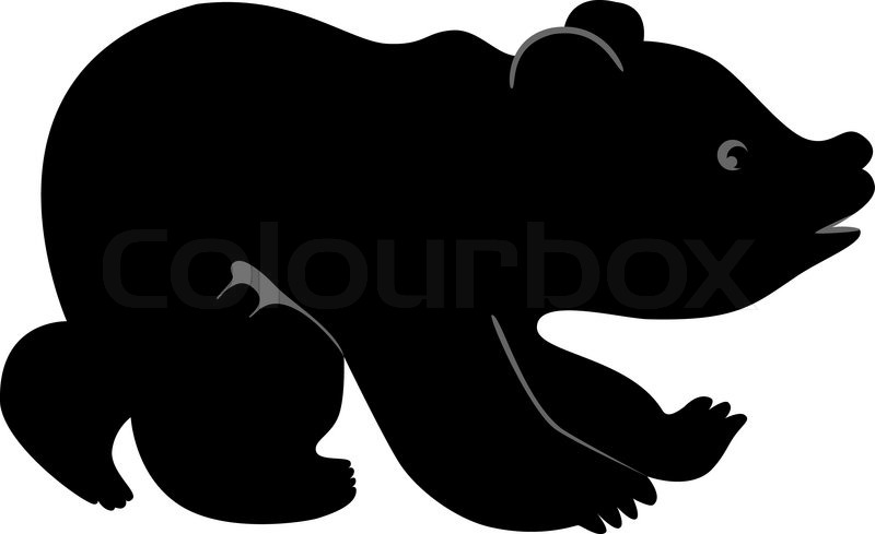 800x489 Vector Silhouette Offunny Little Bear Stock Vector Colourbox