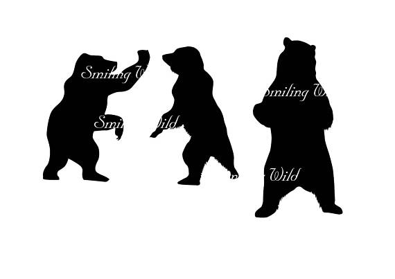 570x403 Grizzly Bear Silhouette Svg Cub Clipart Printable Forest Animal