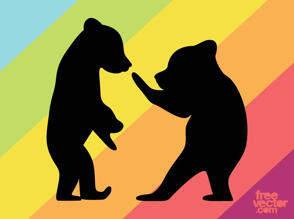 1024x765 Bear Cubs Silhouettes Vector Art Amp Graphics