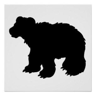 307x307 Bear Silhouette Posters Zazzle