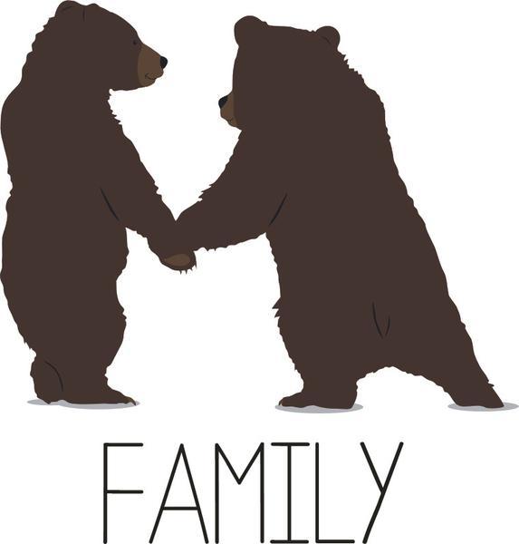 573x600 Bear Cubs Family Wild Animals Kids Cartoon Long Sleeve Baby Rib T