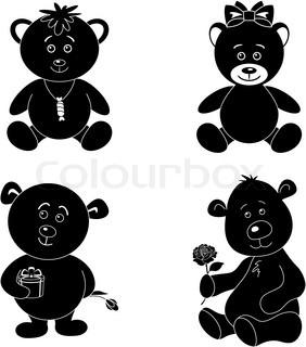 282x320 Set Toy Teddy Bears Stock Vector Colourbox