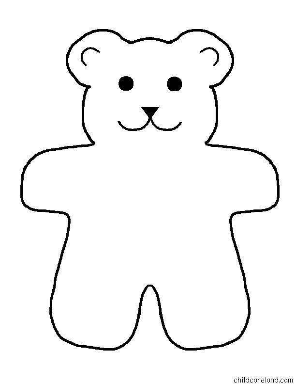 612x792 Bear Template Printable