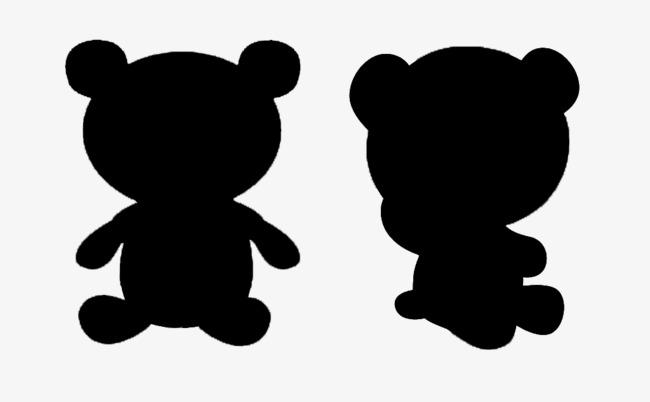650x402 Two Black Bear Silhouette, Black, Bear, Sketch Png Image