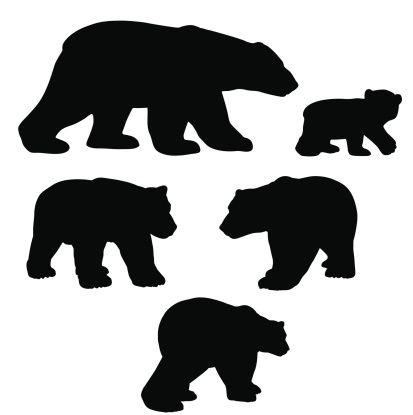 413x415 Free Bear Cub Silhouette Clipart