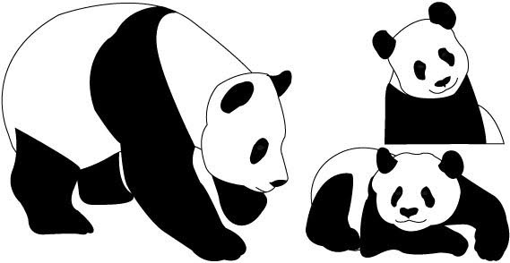 569x294 Panda Bear Outline Free Vector Download (5,478 Free Vector)
