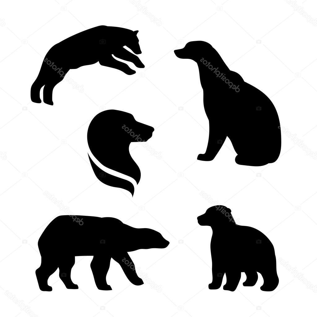 1024x1024 Unique Stock Illustration Polar Bear Vector Silhouettes Drawing