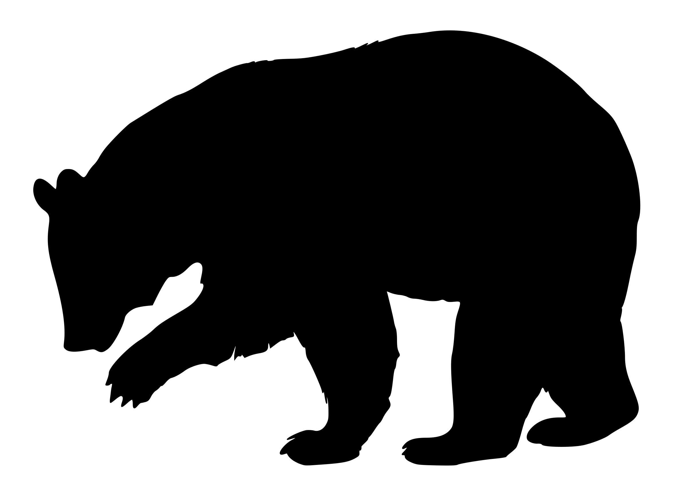 2400x1714 Black Bear Silhouette Icons Png