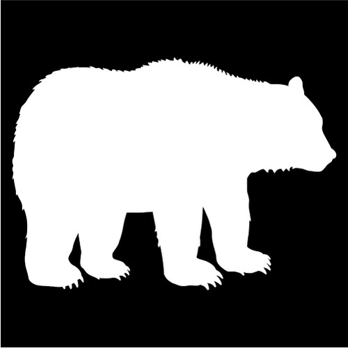 500x500 Bear Silhouette Die Cut Vinyl Decal Sticker