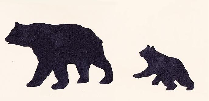 687x334 Stencil Bears Mama And Baby Lodge Cabin Rustic Cabin Forest