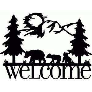 300x300 Welcome Sign Bear Family Silhouette Design, Silhouettes And Bears