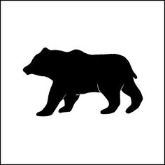 236x236 Mother Bear And Cub Birch Forest Flask Black Silhouette, Birch