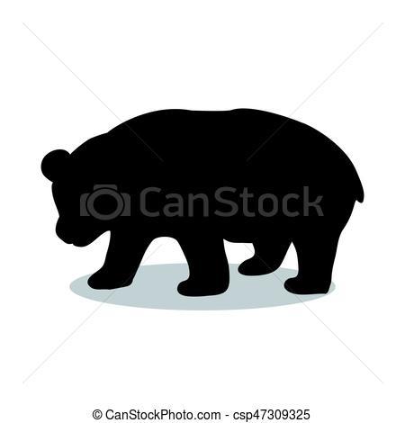 450x470 Panda Bear Mammal Black Silhouette Animal. Vector Vector