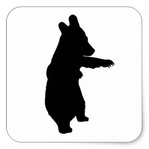 307x307 Black Bear Standing Stickers Zazzle