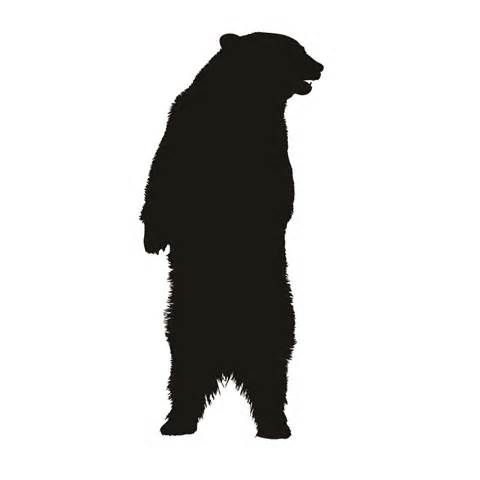 480x480 Bear Standing Silhouette Stencil Cabin Tattoo