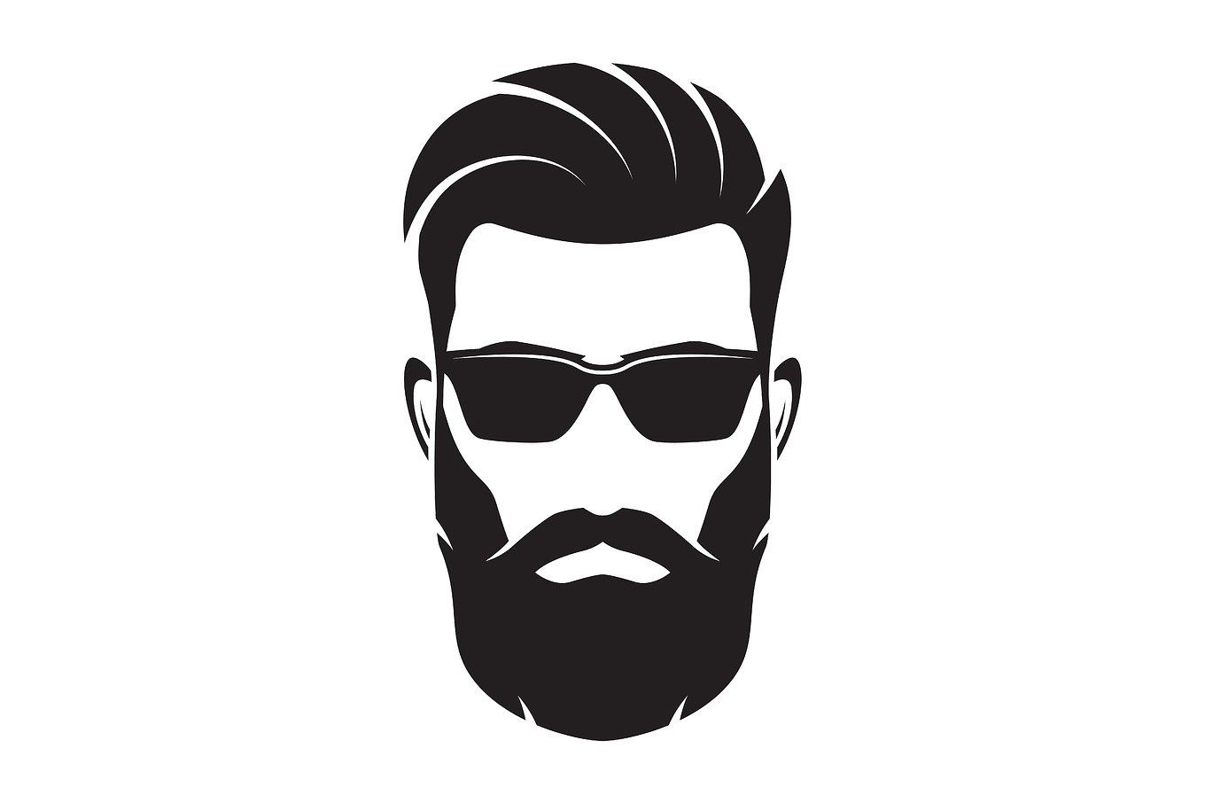 1360x906 Bearded Men Face, Hipster Character. Vector Illustration Man
