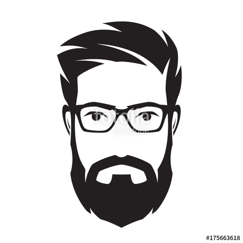 500x500 Bearded Mans Face, Hipster Character. Fashion Silhouette, Avatar