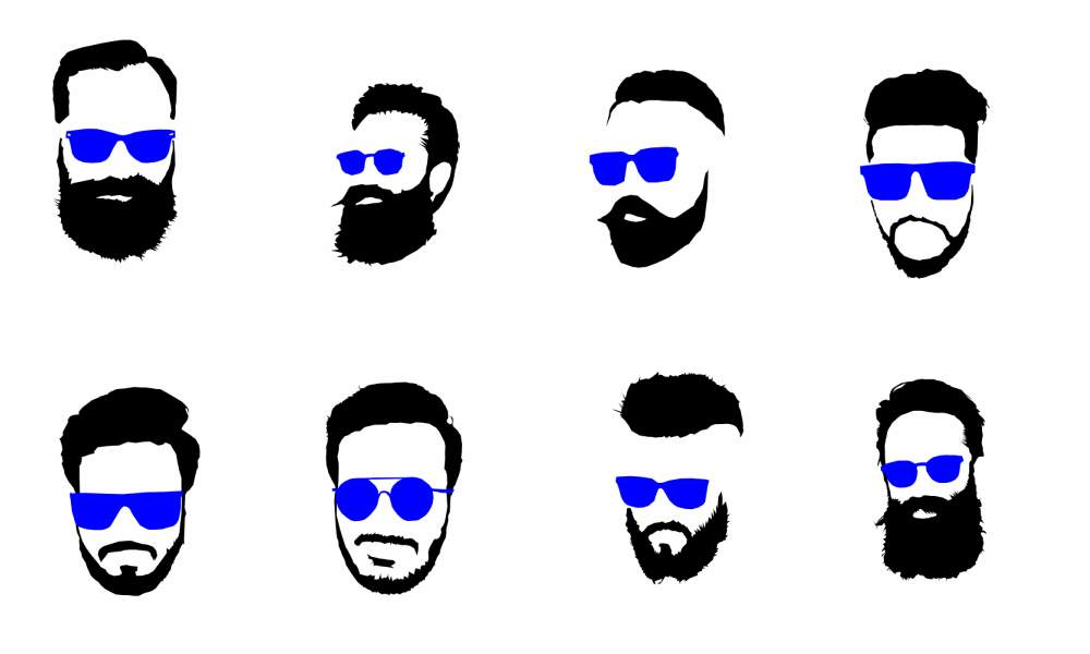 1000x600 8 Hipster Beard Glasses Silhouette Vector