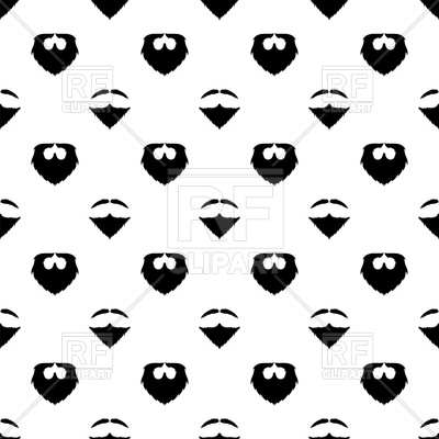 400x400 Beard Silhouette Seamless Pattern Background Royalty Free Vector