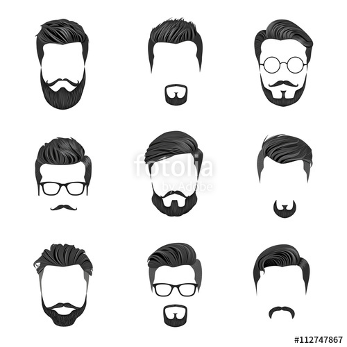 500x500 Hipster Hair, Mustaches And Beards. Hipster Style Vector