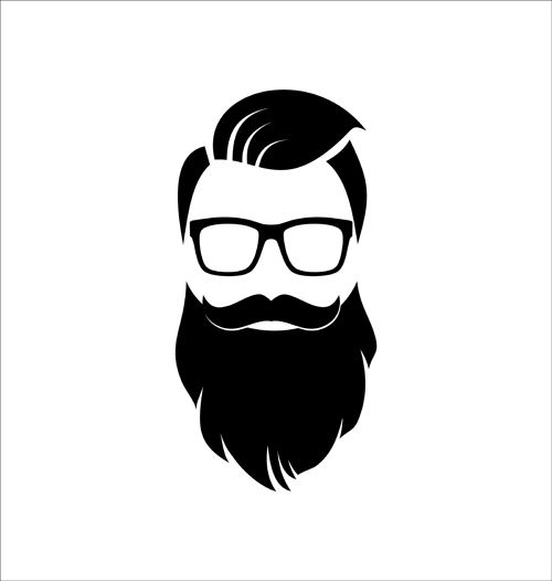 500x526 Long Beard Hipster Head Portrait Vector Set 06 Template