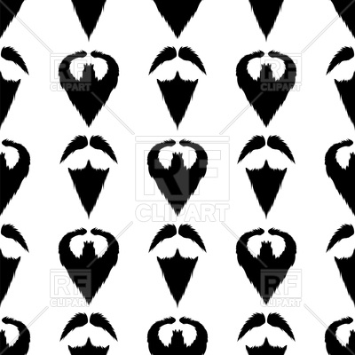 400x400 Beard Silhouette Seamless Pattern Royalty Free Vector Clip Art