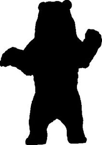 212x300 Grizzly Bear Standing Silhouette Car Decal Sticker Ebay