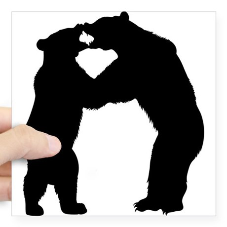 460x460 Standing Bear Silhouette Stickers