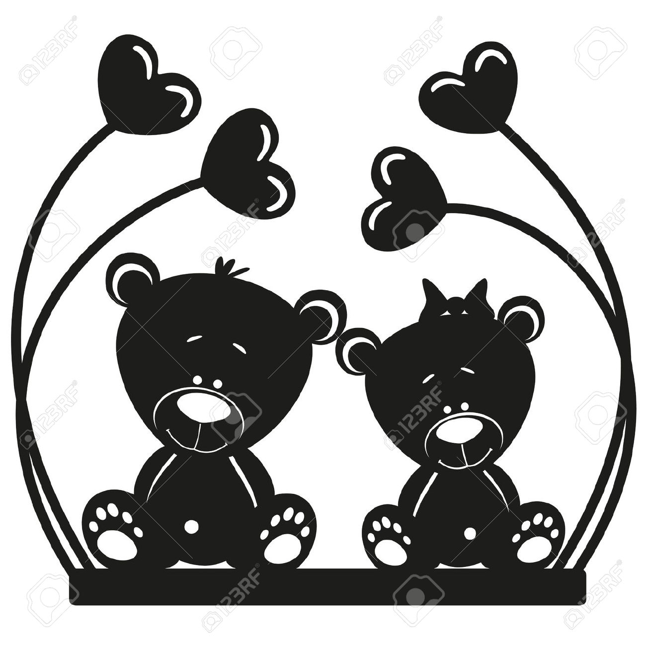 1300x1300 Two Bears Silhouette Clipart