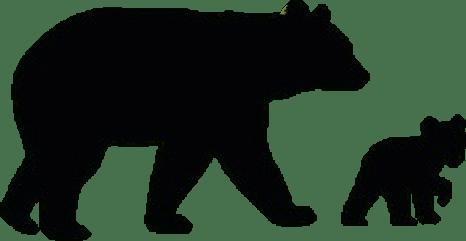 466x241 Bear Cub Silhouette Clip Art