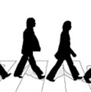 179x180 The Beatles Abbey Road Silhouette Drawing Wood Print By Anthony