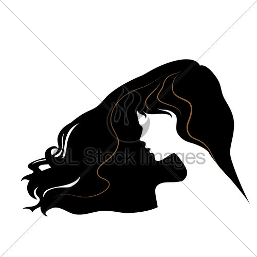 500x500 Silhouette Of A Beautiful Girl With Flying Long Hair. Vec Gl
