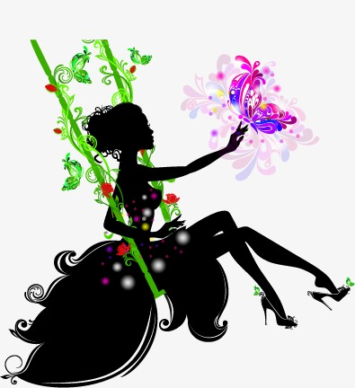 395x432 Beautiful Girl, Silhouette Figures, Butterfly, Plant Png