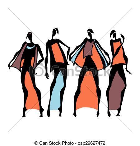 450x470 Beautiful Woman Silhouette. Hand Drawn Fashion Illustration