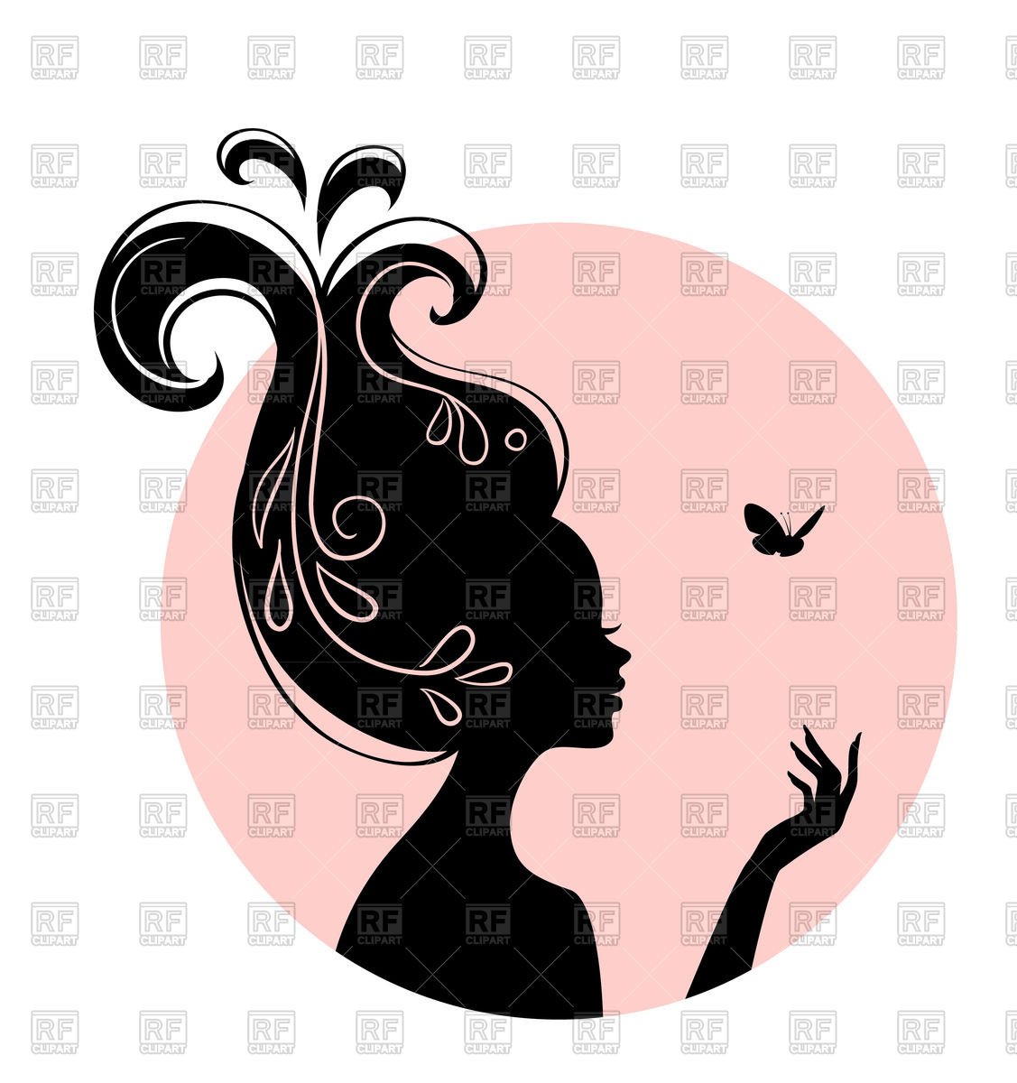 1127x1200 Silhouette Of Beautiful Woman With Butterfly Royalty Free Vector