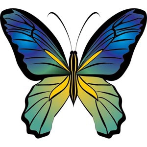 300x300 Beautiful Silhouette Cute Blue Butterfly Free Vector Free