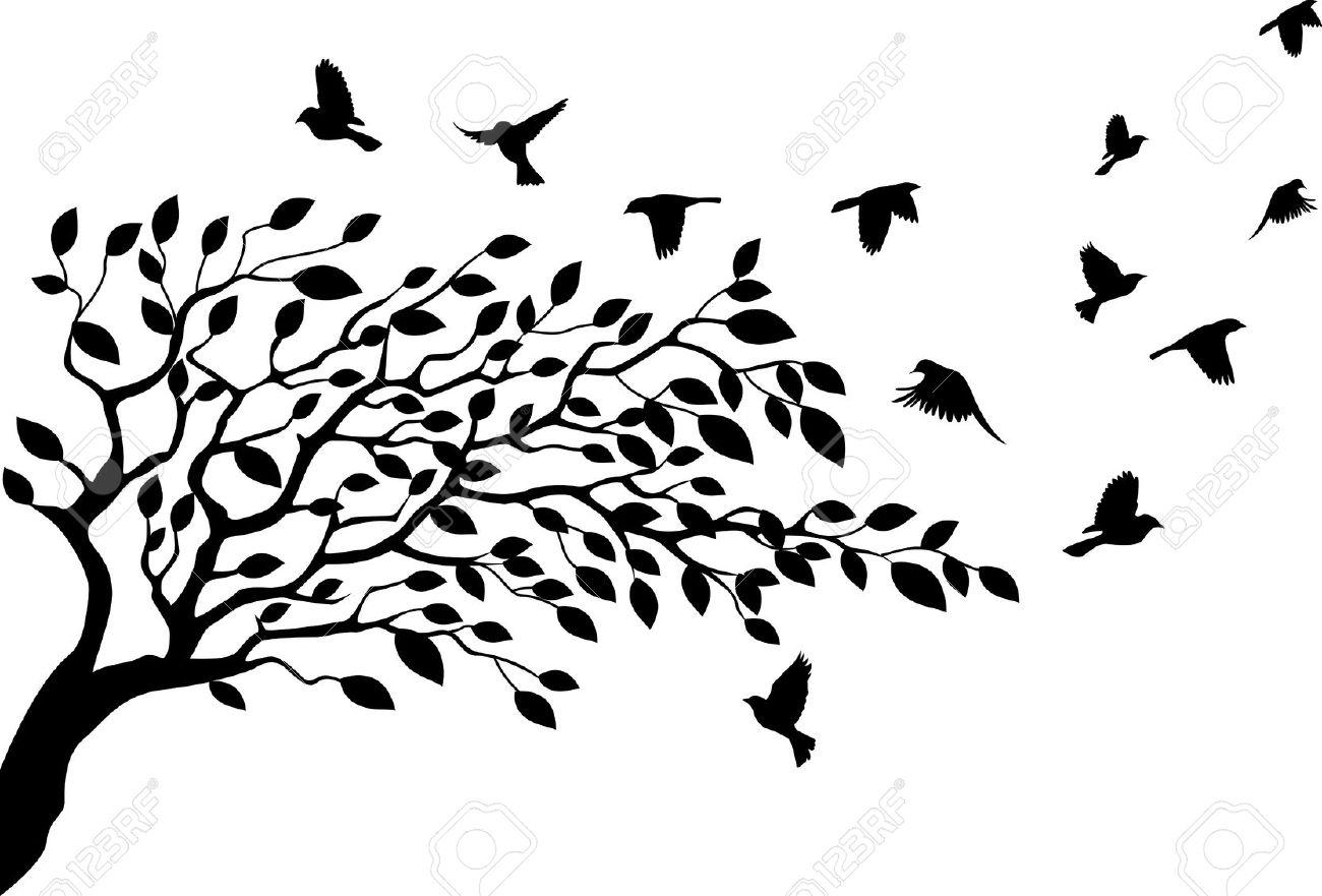 1300x881 Illustration Clipart Tree Bird Silhouette