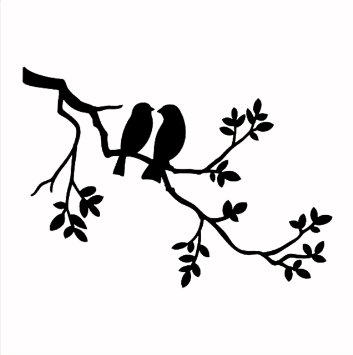 353x355 Solitarydesign Pochoir Motif 2 Oiseaux Dans Un Arbre Rustique