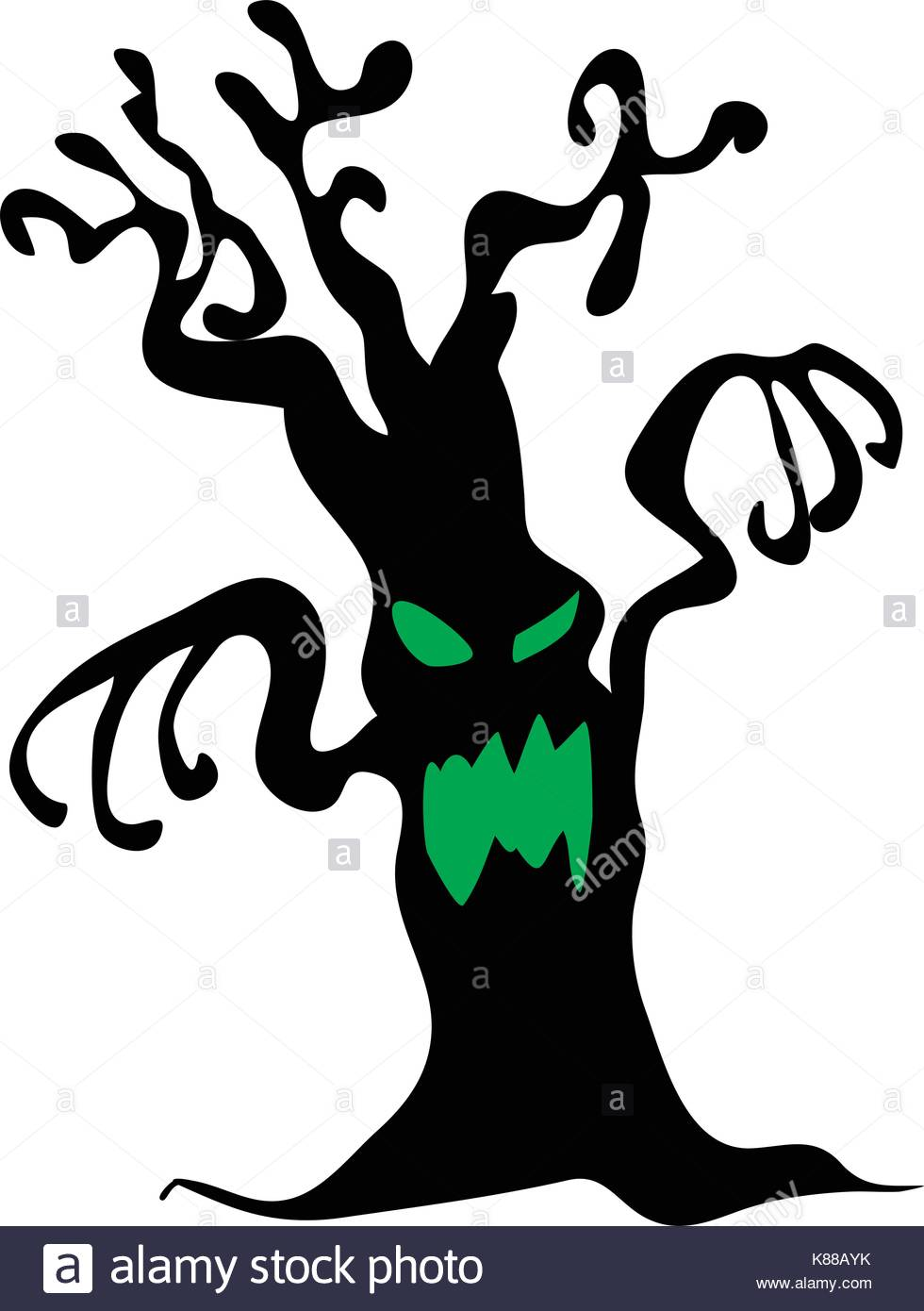 980x1390 Halloween Creepy Scary Bare Tree Monster Vector Symbol Icon Design