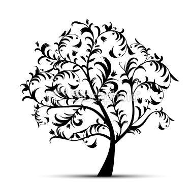 380x379 Art Tree Beautiful, Black Silhouette Black Silhouette, Vector