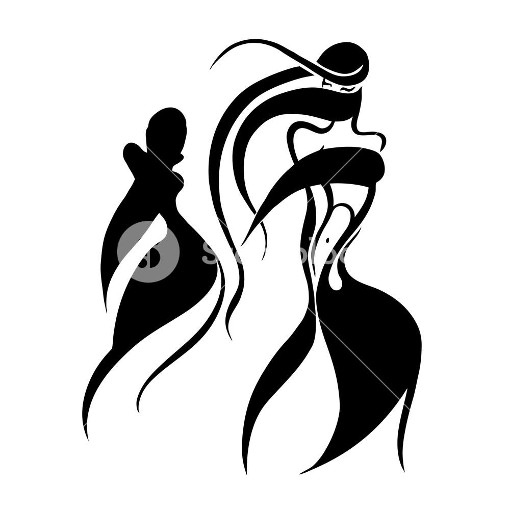 1000x1000 Beautiful woman in Hijab. Silhouette. Hand drawn vector