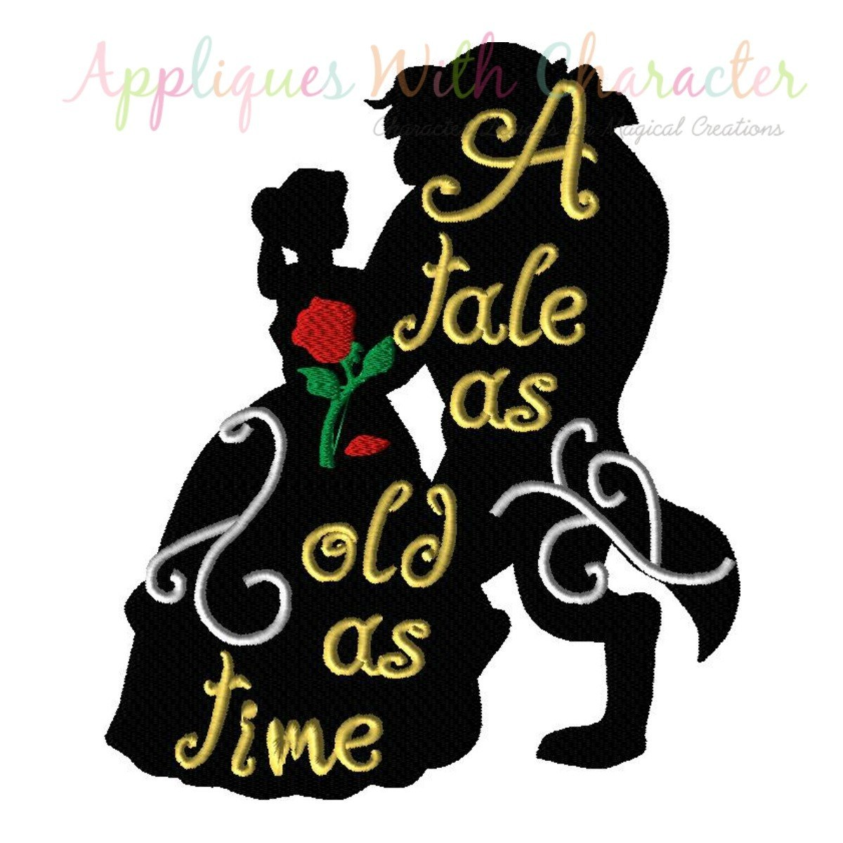 1200x1200 Tale As Old As Time Silhouette Embroidery Design By Appliques