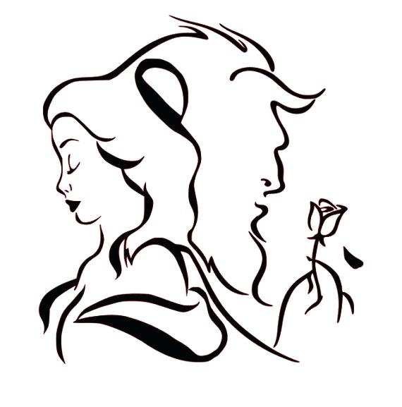 570x577 Beauty And The Beast Silhouette Or Beauty And The Beast Rose